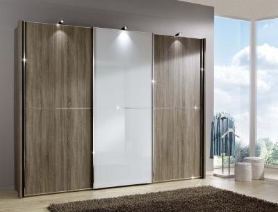 Wiemann Miami2 3 Door Sliding Wardrobe in Oak and White Glass - W 300cm