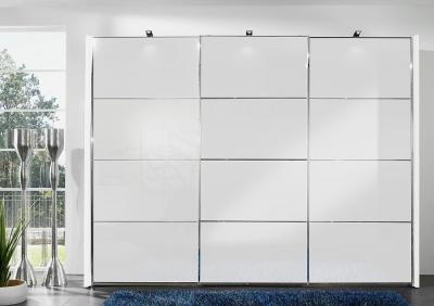 Wiemann Miami2 3 Door Sliding Wardrobe in White Glass - W 300cm