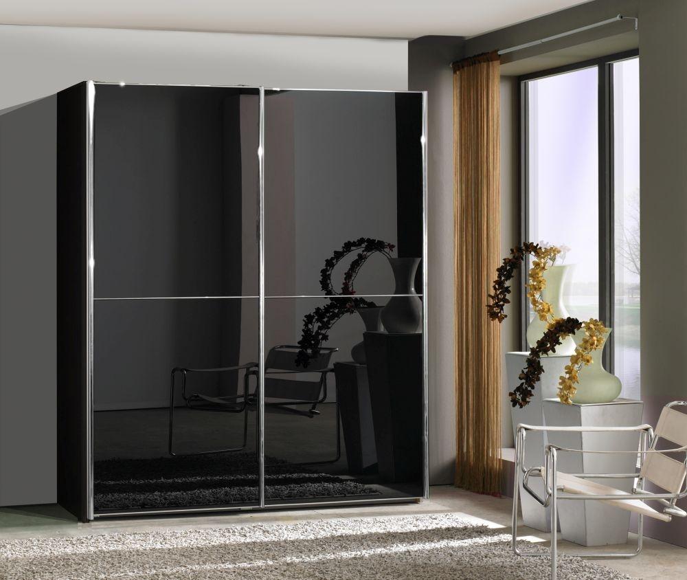 Wiemann Miami2 2 Door 1 Left Glass 2 Panel Sliding Wardrobe in Black - W 200cm
