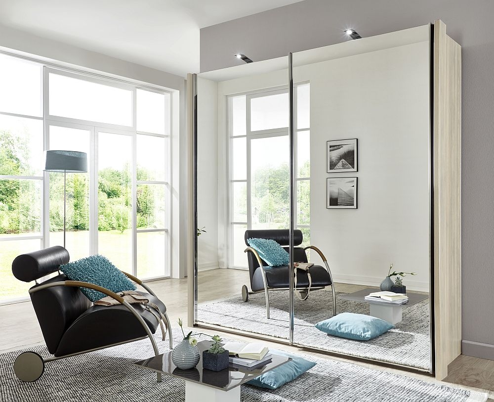 Wiemann Miami2 2 Door All Mirror Sliding Wardrobe in Holm Oak - W 200cm