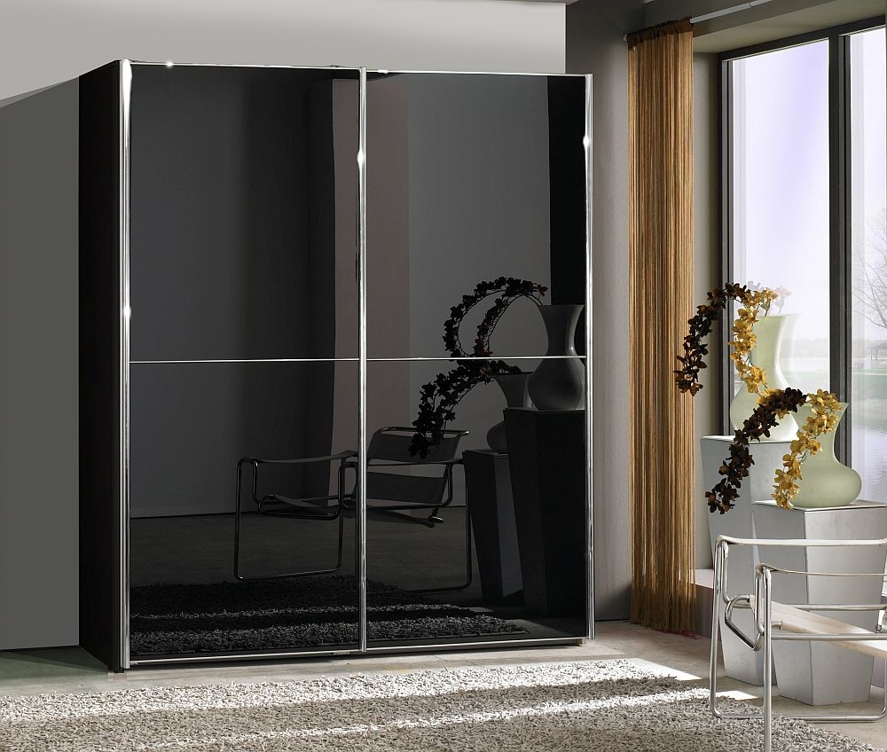 Wiemann Miami2 2 Door Sliding Wardrobe in Black Glass - W 150cm