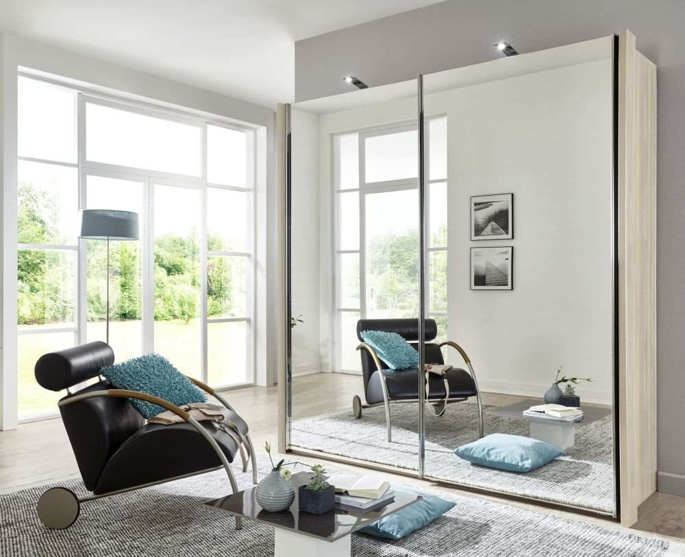 Wiemann Miami2 2 Mirror Door Sliding Wardrobe in Holm Oak - W 150cm