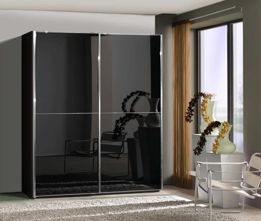Wiemann Miami2 3 Door 1 Glass 2 Panel Sliding Wardrobe in Black - W 300cm