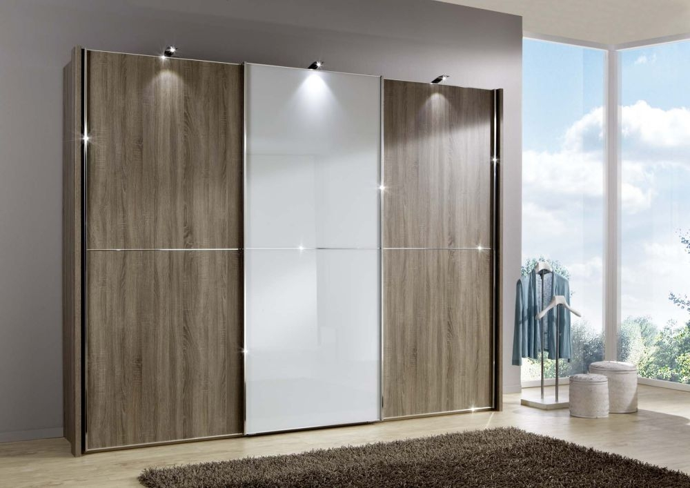 Wiemann Miami2 3 Door 1 Glass 2 Panel Sliding Wardrobe in Dark Rustic Oak and White Glass - W 225cm