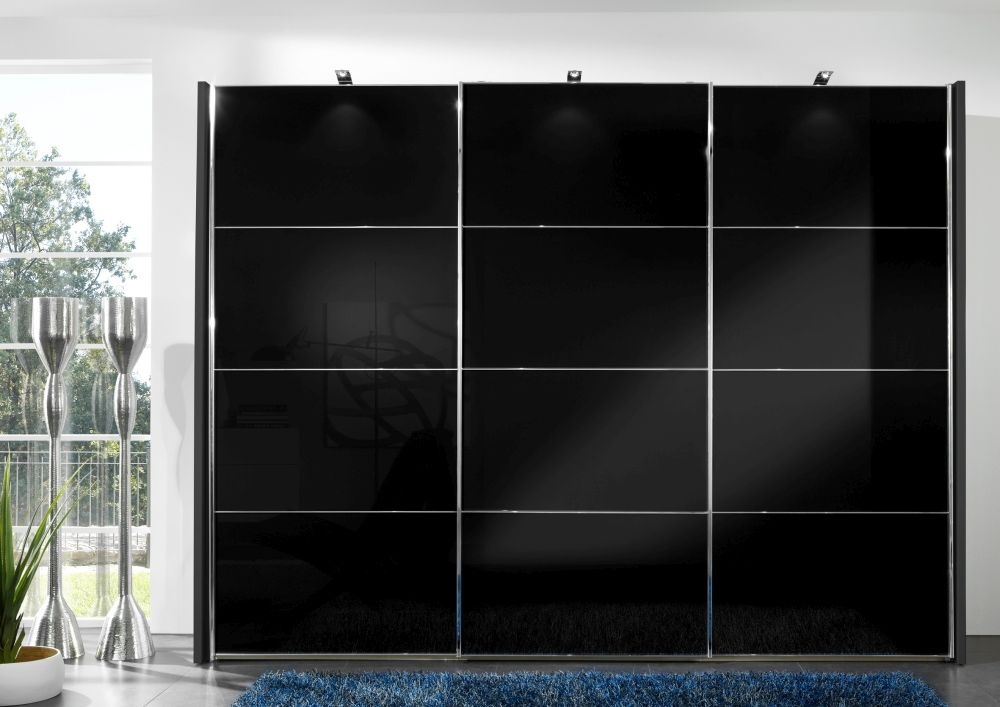 Wiemann Miami2 3 Door 1 Glass 4 Panel Sliding Wardrobe in Black - W 300cm