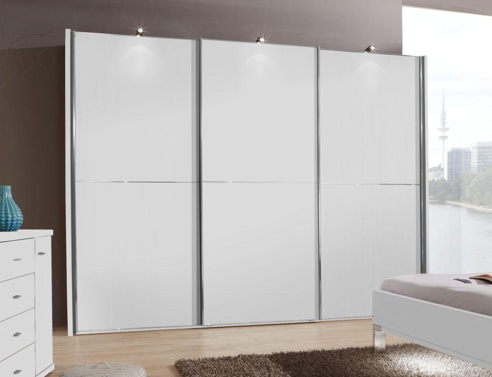 Wiemann Miami2 3 Door 2 Panel Sliding Wardrobe in White - W 225cm