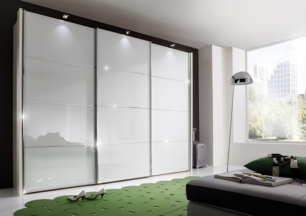 Wiemann Miami2 3 Door 4 Panel Sliding Wardrobe in White - W 225cm