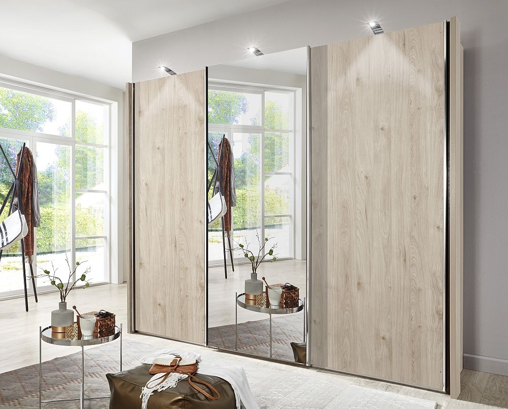 Wiemann Miami2 3 Door Mirror Sliding Wardrobe in Holm Oak - W 250cm