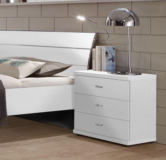 Wiemann Miami2 3 Drawer Bedside Cabinet in White