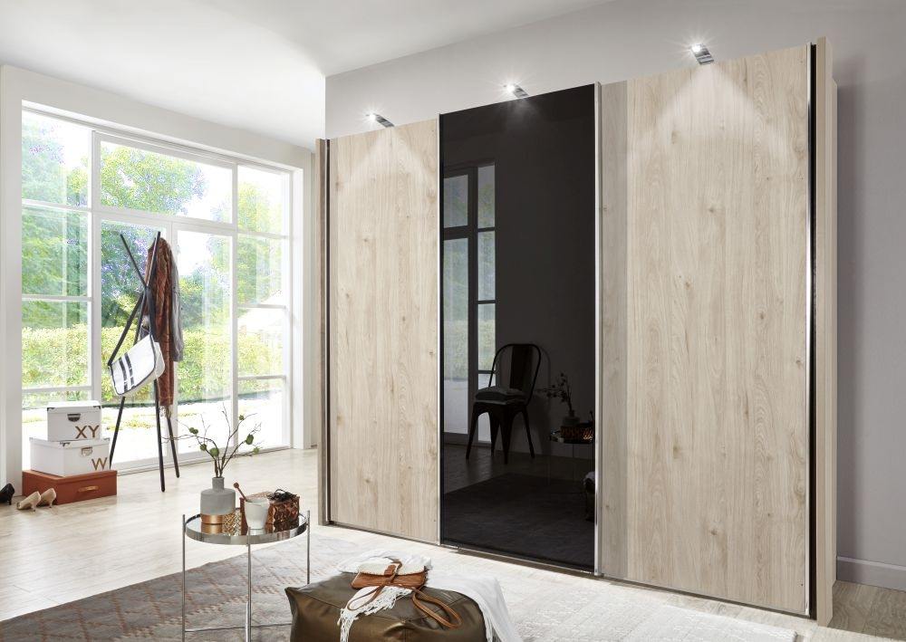 Wiemann Miami2 4 Door 2 Glass Sliding Wardrobe in Holm Oak and Black Glass - W 330cm