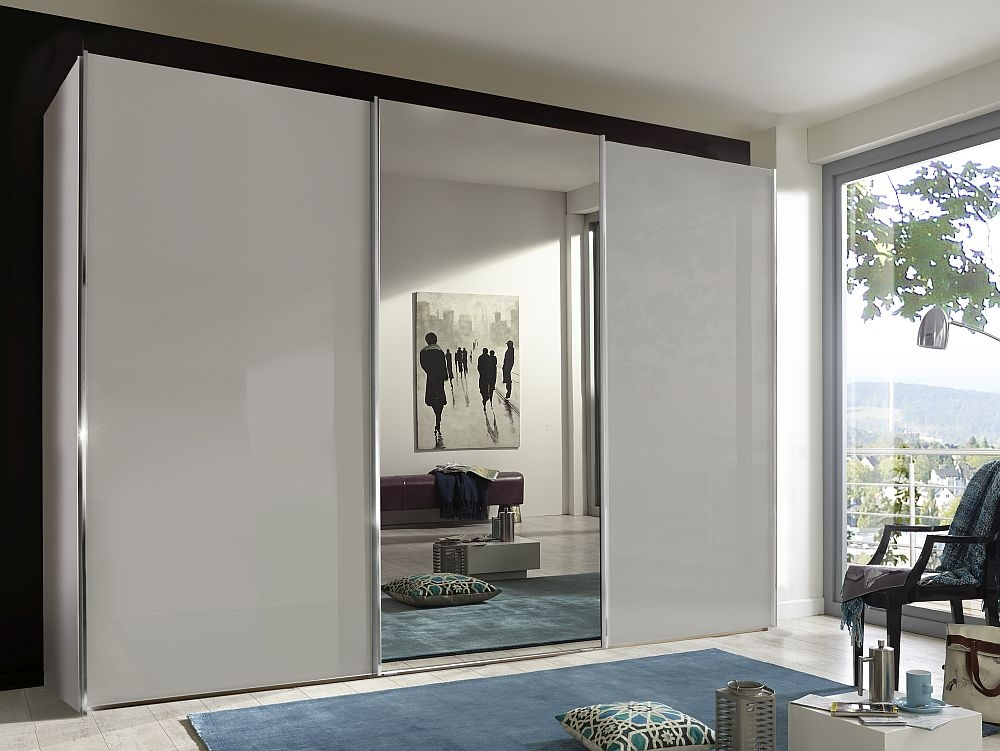 Wiemann Miami Plus 3 Door Mirror Sliding Wardrobe in White and Champagne Glass - W 300cm