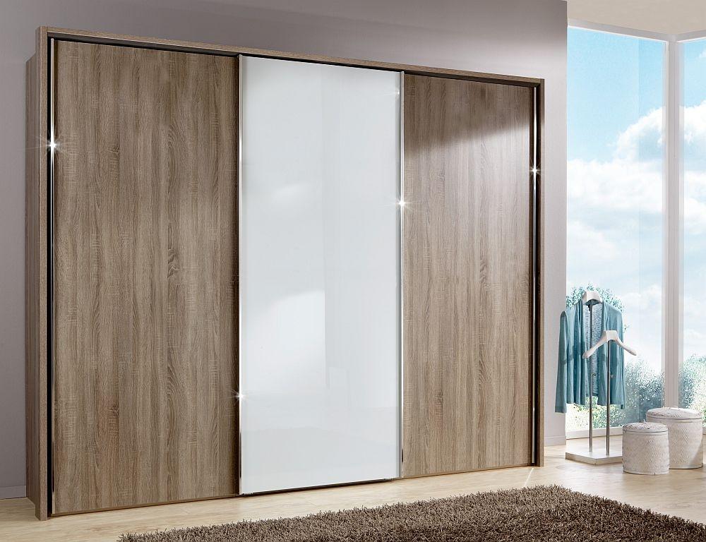 Wiemann Miami Plus 3 Door Sliding Wardrobe in Oak and White Glass - W 300cm