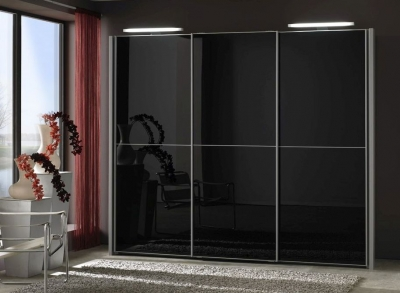Wiemann Miami 3 Door Wardrobe in Silver and Black Glass - W 250cm