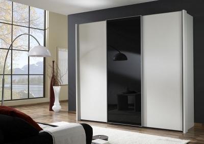 Wiemann Miami 3 Door Wardrobe in White and Black Glass - W 250cm