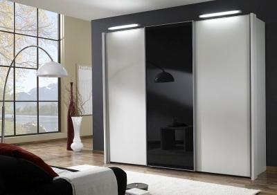 Wiemann Miami 3 Door Wardrobe in White and Black Glass - W 280cm