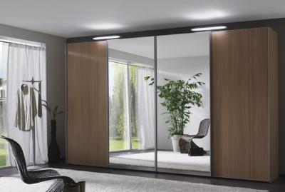 Wiemann Miami 4 Door Mirror Wardrobe in Dark Rustic Oak - W 400cm