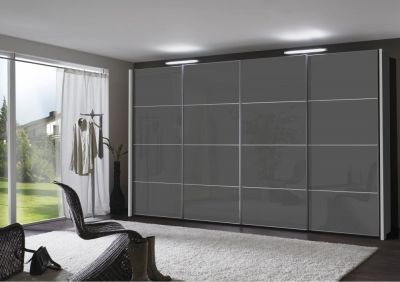 Wiemann Miami 4 Panel 2 Door 1 Left Glass Sliding Wardrobe in Dark Grey - W 150cm