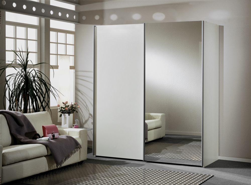 Wiemann Miami 2 Door 1 Left Mirror Sliding Wardrobe in White - W 150cm
