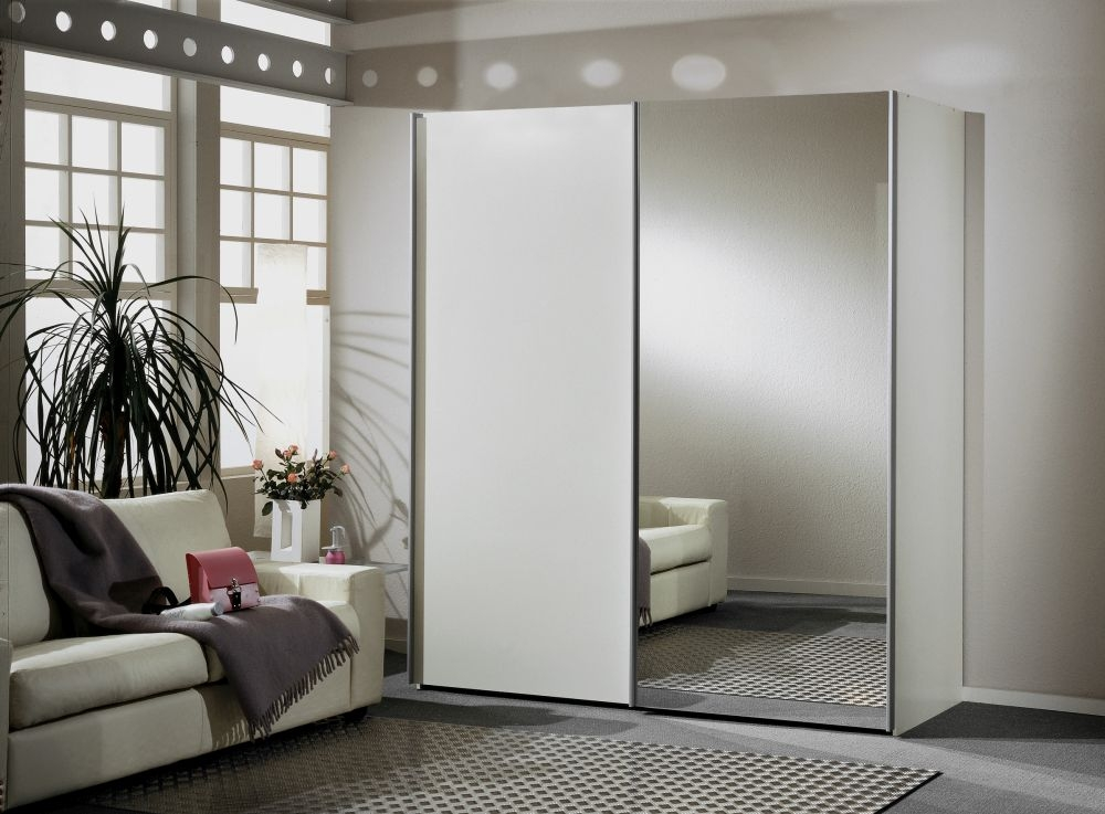 Wiemann Miami 2 Door 1 Right Mirror Sliding Wardrobe in White - W 200cm