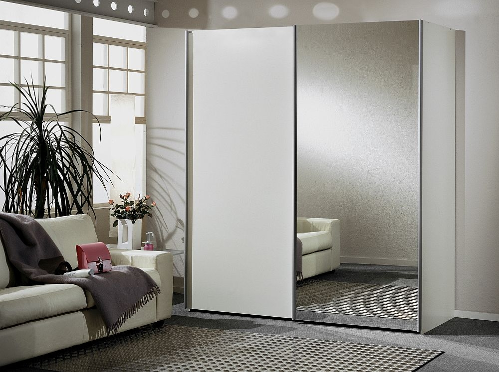 Wiemann Miami 2 Door Mirror Wardrobe in White - W 200cm