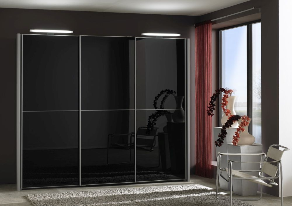 Wiemann Miami 2 Panel 3 Door 1 Glass Sliding Wardrobe in Black - W 280cm