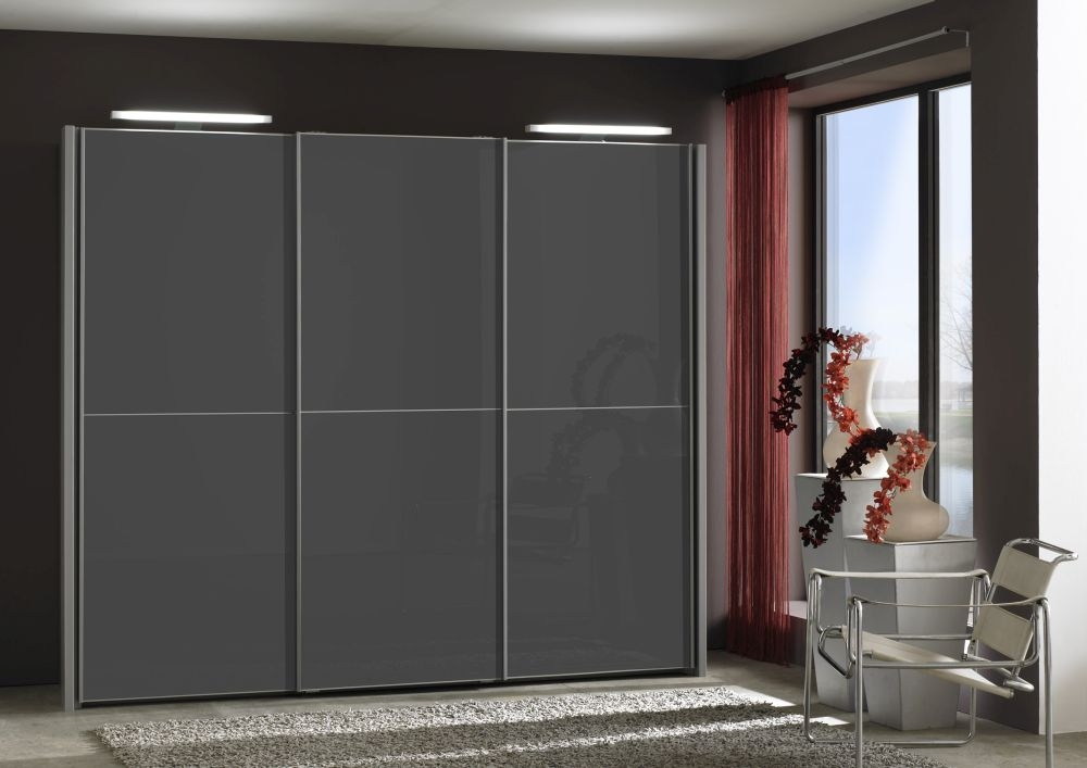 Wiemann Miami 2 Panel 3 Glass Door Sliding Wardrobe in Dark Grey - W 225cm