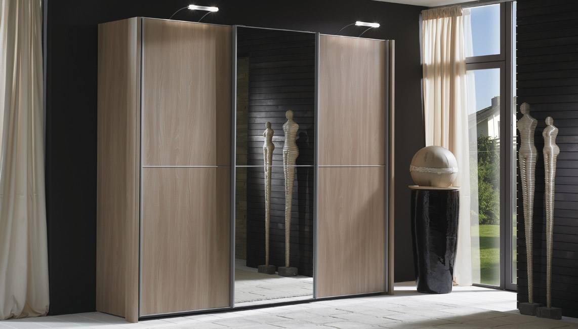 Wiemann Miami 2 Panel 3 Mirror Door Sliding Wardrobe in Dark Rustic Oak - W 280cm