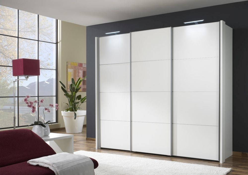 Wiemann Miami 3 Door 4 Panel Sliding Wardrobe in White - W 250cm