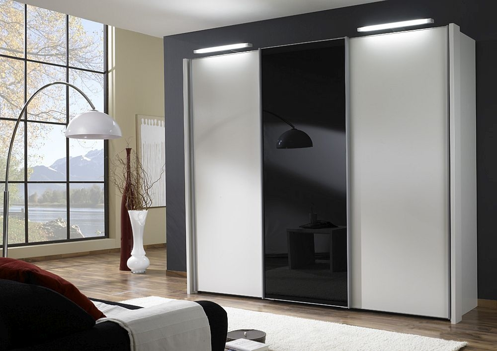 Wiemann Miami 3 Door Wardrobe in White and Black Glass - W 280cm