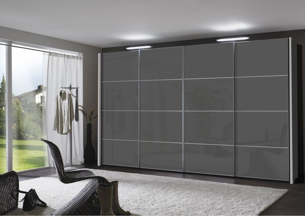 Wiemann Miami 4 Panel 3 Door 1 Glass Sliding Wardrobe in Dark Grey - W 225cm