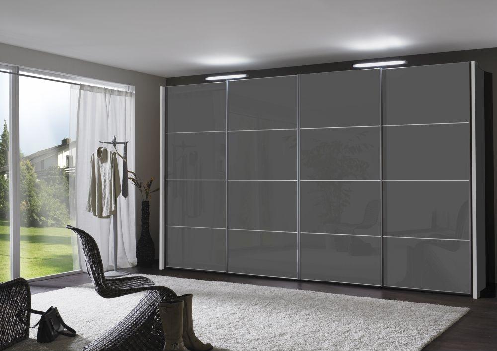Wiemann Miami 4 Panel 3 Door 1 Glass Sliding Wardrobe in Dark Grey - W 280cm