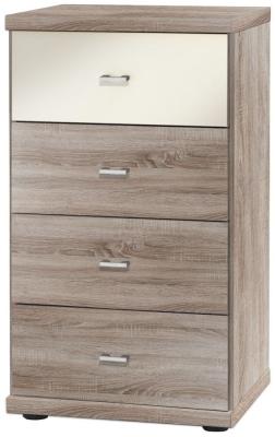 Wiemann Miro 4 Drawer Magnolia Glass Top Drawer Bedside Cabinet in Dark Rustic Oak with Silver Handle