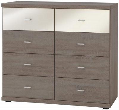 Wiemann Miro 8 Drawer Magnolia Glass Top Drawer Bedside Cabinet in Dark Rustic Oak with Silver Handle
