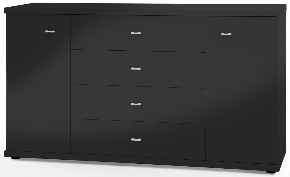 Wiemann Miro 2 Door 4 Drawer Combi Chest in Black with Silver Handle