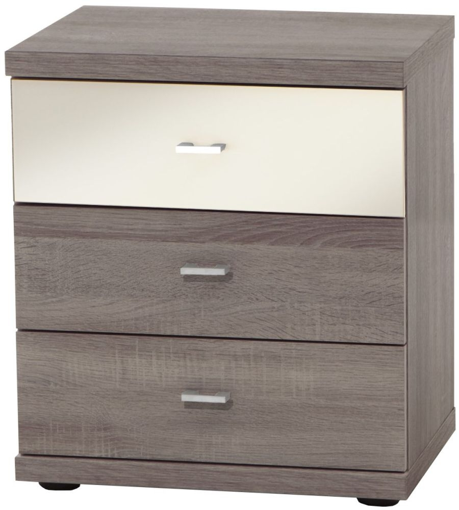 Wiemann Miro 3 Drawer Black Glass Top Drawer Bedside Cabinet in Rustic Oak with Chrome Handle
