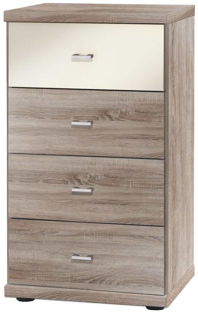 Wiemann Miro 4 Drawer Black Glass Top Drawer Bedside Cabinet in Rustic Oak with Silver Handle
