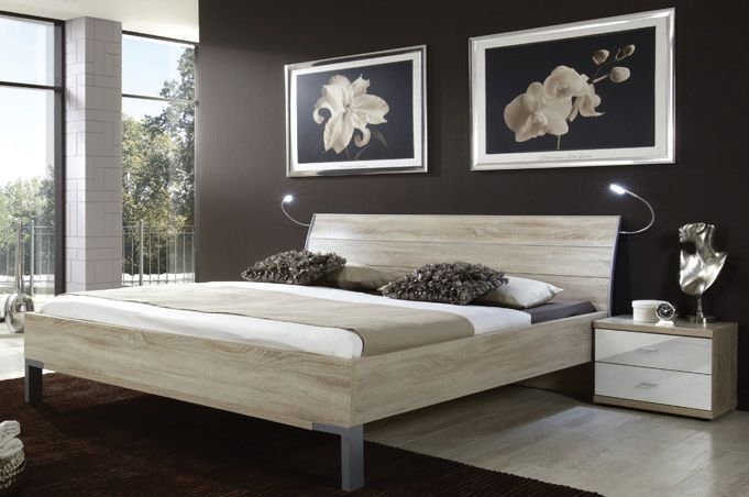 Wiemann Miro 6ft Queen Size Chrome Angled Feet Bed in Light Ash - 180cm x 200cm