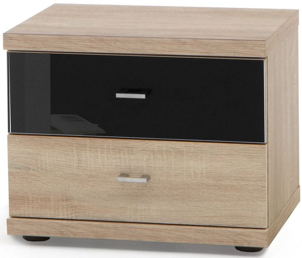 Wiemann Miro 2 Drawer Black Glass Top Drawer Bedside Cabinet in Rustic Oak with Chrome Handle