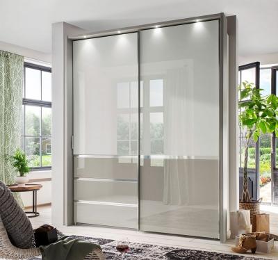 Wiemann Misura 2 Door Sliding Wardrobe in White and Pebble Grey Glass - W 165cm