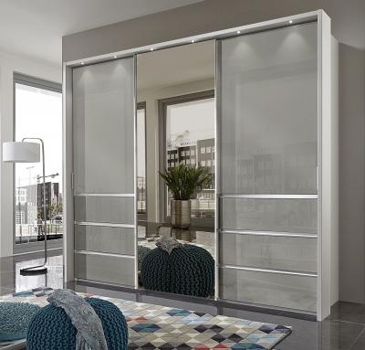 Wiemann Misura 3 Door Mirror Sliding Wardrobe in White and Pebble Grey Glass - W 250cm