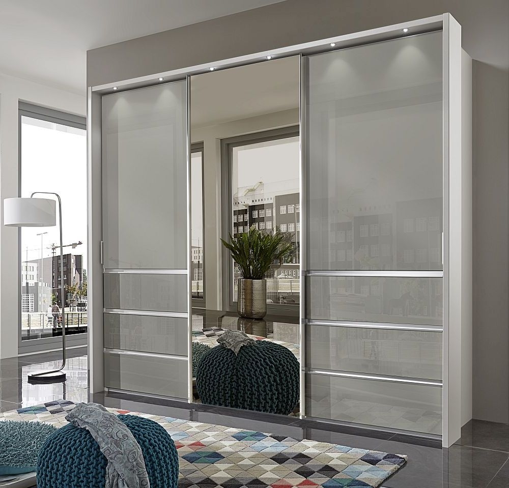 Wiemann Misura 3 Door Mirror Sliding Wardrobe in White and Pebble Grey Glass - W 250cm