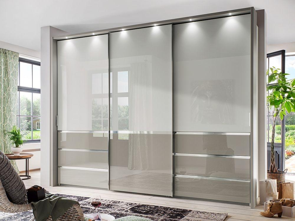 Wiemann Misura 3 Door Sliding Wardrobe in White and Pebble Grey Glass - W 300cm