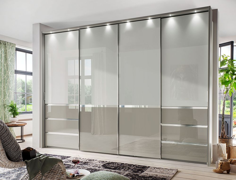 Wiemann Misura 4 Door Sliding Wardrobe in White and Pebble Grey Glass - W 330cm