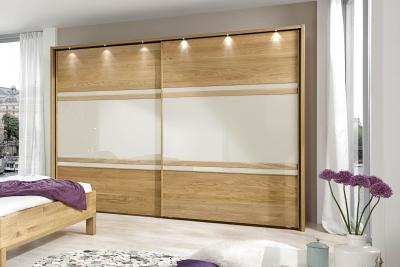 Wiemann Modena 2 Door Sliding Wardrobe in Oak and Magnolia Glass - W 300cm