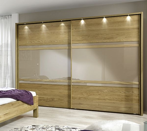 Wiemann Modena 2 Door Sliding Wardrobe in Oak and Sahara Glass - W 250cm