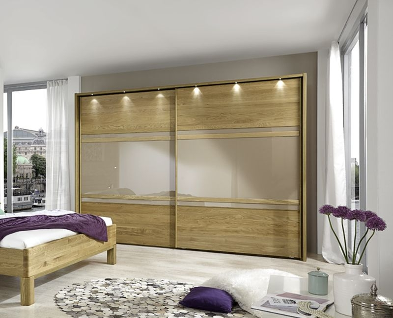 Wiemann Modena 2 Door Sliding Wardrobe in Oak and Sahara Glass - W 300cm