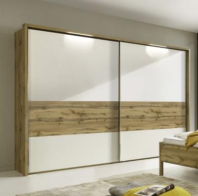 Wiemann Padua 2 Door Sliding Wardrobe in Timber Oak and White - W 300cm