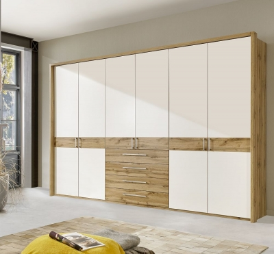 Wiemann Padua 6 Door Wardrobe in Timber Oak and White - W 300cm