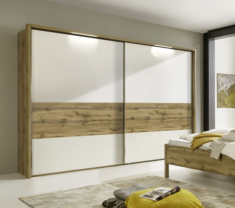 Wiemann Padua 2 Door Sliding Wardrobe in Oak and White - W 300cm