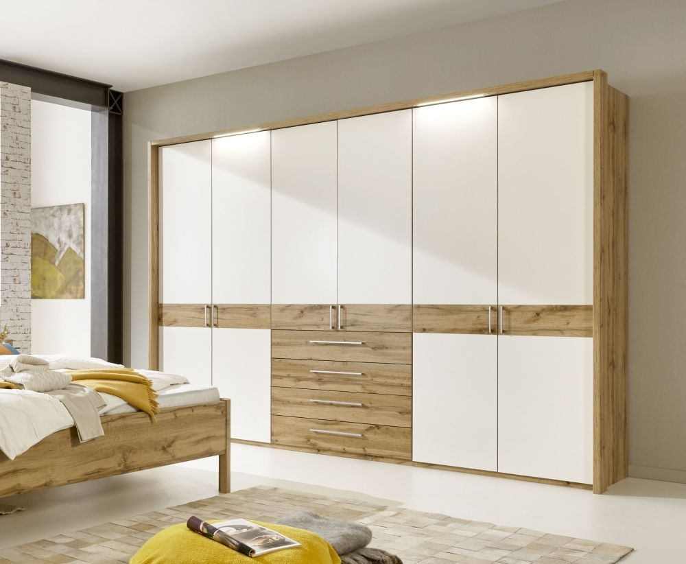 Wiemann Padua 5 Door 4 Drawer 1 Mirror Wardrobe in Oak and White - W 250cm